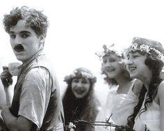 Charlie Chaplin + nymphs.