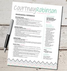 The Courtney Resume Template Design - Teacher - Marketing - Sales - Customer Service - Medical