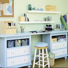 DIY Craft Storage:    You don't need to spend a fortune to create a storage-packed hobby area. A simple piece of plywood on two painted nightstands does the trick. Drawers and bins add convenient storage below the work surface, while pullouts add additional work space.