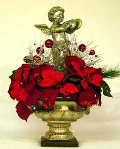 Angel Cherub Christmas Centerpiece Floral Arrangement in Old World style compote bowl design by Cabin Cove Creations, $179.95 ...If sold please visit Cabin Cove Creations store at Etsy to view all my other unique designs …click… http://www.etsy.com/shop/cabincovecreations?ref=si_shop