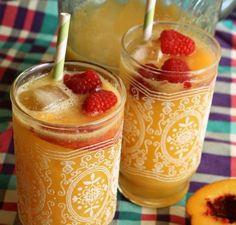 "One for the kids.....""Peach Queen"" >> peaches, OJ & ginger ale"