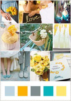 yellow, grey, and aqua.