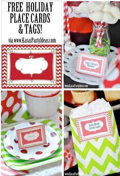 FREE printable holiday Christmas place cards & tags via www.KarasPartyIdeas.com!