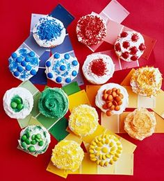 Colour wheel cupcakes