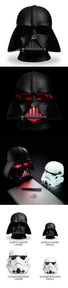 Light The Way With Darth Vader And Stormtrooper Head-Shaped Lamps  Get a little light from the Dark Side with these Star Wars head-shaped lamps. There's Darth Vader or a Stormtrooper and they're both available in either small or large sizes. The Stormtrooper's entire helmet lights up white, while Vader glows an eerie red from his eyes and his mouth grill.  Read more at http://nerdapproved.com/household/light-the-way-with-darth-vader-and-stormtrooper-head-shaped-lamps/#AqKqj5vGykZJ0iRp.99