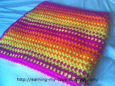 Earning-My-Cape: Granny Stripes Color-Burst Blanket (Free Crochet Pattern)