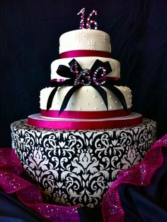 Hot Pink and Black Sweet Sixteen Cake