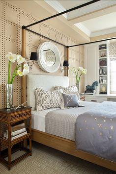 Neutral Bedroom Design. Perfect neutral colors are found in this bedroom. #Bedroom #NeutralInteriors #NeutralColors