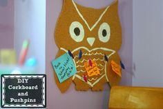 Owl cork board Pinned by www.myowlbarn.com