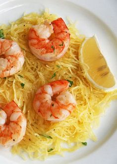 Shrimp and Spaghetti Squash Recipe--a no-fuss, flavor packed meal.