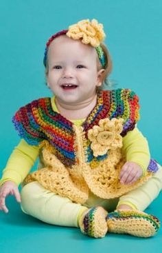 Fall Baby Set Free Crochet Pattern from Red Heart Yarns