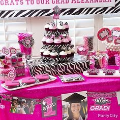 Divalicious dessert table in a pink & zebra theme! Tons of cute graduation party ideas.