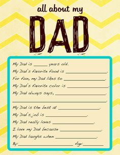 Free Printable Father's Day Questionairre