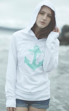 Live Life Anchored Raw Edge Hoodie  via Etsy.