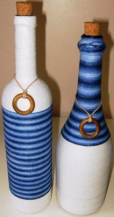"""Blog de flordefuxico : """"arte e decoração """", garrafas decoradas com barbantes ."""