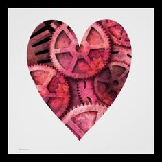 Steampink Steampunk Gears Print by Paul Stickland for StrangeStore on Zazzle #steampunk #valentine