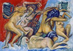 Colección Blaisten José Clemente Orozco (1883-1949) Parnaso mexica con catrinas de pulquería, ca. 1944 Temple / papel 34.6 x 48.6 cm