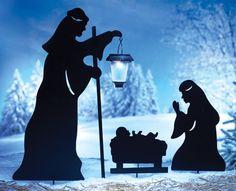 Nativity Christmas Shadow Garden Stakes & Lantern- Set of 3