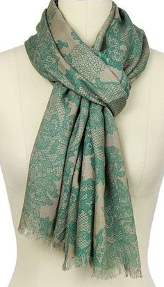 Green Lace-Print Scarf