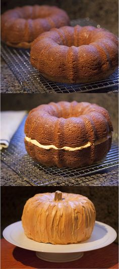 Halloween Pumpkin Shaped Cake I'd stuff the centre and in between with pumpkin custard first (2 C pumpkin, 1 can condensed milk, pumpkin pie spice to taste, cook on medium heat for 20 min until thick & boiling.)