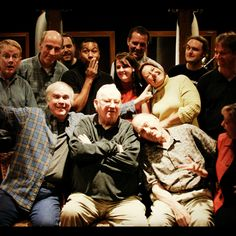 "The goofy Odyssey cast after recording ""The Triangled Web"" episode.    Standing, from left: Sound design Jonathan Crowe, executive producer Dar Arnold, sound designer Nathan Jones, actors Fabio Stephens (Curt Stevens), Genni Long (Lucy Cunningham-Schultz), Donald Long (Jack Davis), Katie Leigh (Connie), David Griffin (Jimmy Barclay), producer Marshal Younger. Sitting, from left: Actors Will Ryan (Eugene), Dave Madden (Bernard Walton), Paul Herlinger (Whit), and host Chris Anthony"