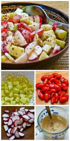This Tomato, Cucumber, and Radish Salad uses common summer ingredients, but the Yogurt and Tahini Dressing really turns it into something special! The dressing is also amazing as a sauce for grilled meat or chicken. [from Kalyn's Kitchen] #LowCarb #GlutenFree #SouthBeachDiet #TahiniDressing