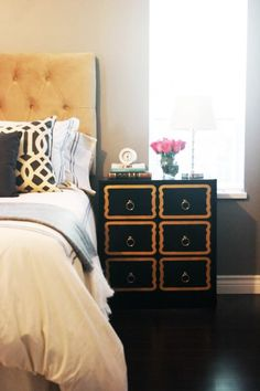 DIY ikea bedstand- change to black and white instead of gold. Marcus Design: {my ikea diy: dorothy draper style!}