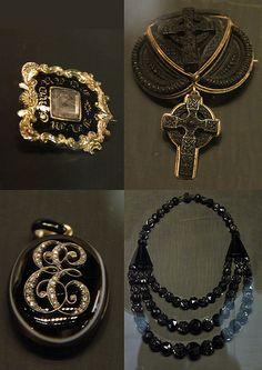 Victorian Mourning Jewelry~ Jet, Diamonds, Yellow Gold.