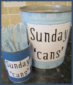 Sunday 'cans'...a can filled with lots of ideas/activities that can be done on a Sunday (tutorial and free printable)...no more moaning, yeah!! :) church ideas, fhe activities, famili, churchi, sunday activities, primary activity ideas, church activities, sunday cans, cansa