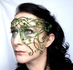 Green vine half mask, handmade, masquerade. $240.00, via Etsy.