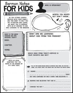 Help your kids learn to take notes during church with these sermon notes for kids!