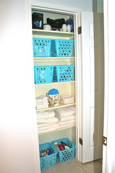 linen closet..dollar tree baskets