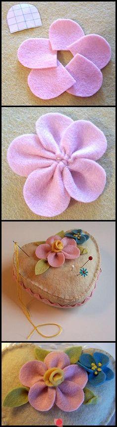 felt hearts, felt pincushions, flower pins, felt crafts, felted flowers, pincushions to make, flower ideas, pin cushion, felt flowers