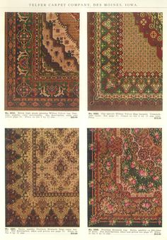 "Examples of Velvet and Brussels Rugs from ""Telfer's Good Carpets and Rugs"" catalog, early 1900s."