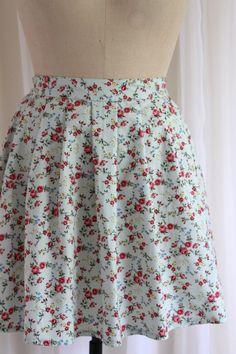 Jasmine  Dainty Floral Mint Green Skirt.