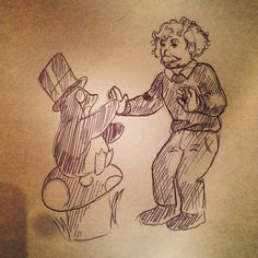 Einstein playing patti-cake with a well-dressed penguin on a toadstool
