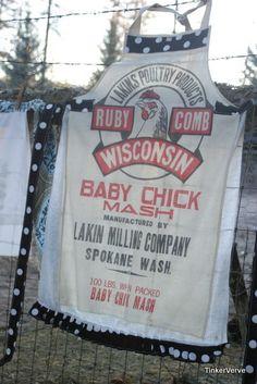 vintage feed sack apron