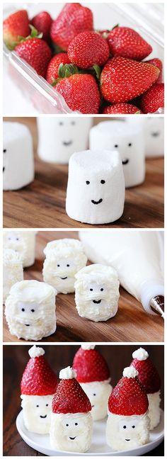 holiday, food, hat marshmallow, marshmallow snack, marshmallow top hats, santa hat, christma, dessert, kid