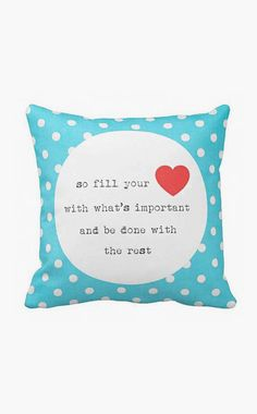 Pillow Polka Dot Turquoise and Red Fill your Heart