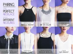 How to Pair the Perfect Necklace with Different Necklines. #infographic #jewelry