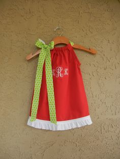 CHRISTMAS COLLECTION - Monogrammed Red Pillowcase Dress - sizes 3m to 6T....PERFECT for Pictures with Santa. $32.00, via Etsy.