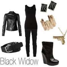black widow, inspir fashion, style, cloth, outfit, widow inspir, charact inspir, polyvore fashion, the avengers