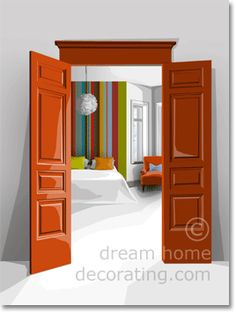 Seventies bedroom color scheme - this really only works because the colors are surrounded by loads of white!
