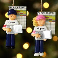 Personalized Fantasy Football Ornament.