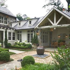 Exterior White Stone Design, Pictures, Remodel, Decor and Ideas - page 7 outdoor living, covered patios, hous, backyard, outdoor spaces, courtyard, traditional homes, space design, covered porches