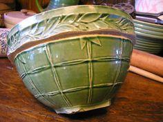 Green McCoy Yellow ware bowl   Trailing Ivy Lattice design