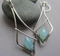 Silver Wire Earrings w. Sky blue Chalcedony / Silver by mese9, $33.00