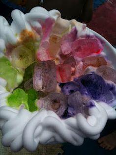 ice, gel food coloring, shaving cream