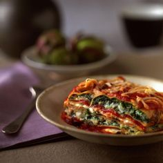 Healthy vegetarian lasagna packed with leafy greens (and three cheeses!)