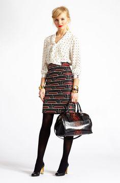 kate spade new york 'lewis' print silk top & 'jordan' print skirt paired with accessories #Nordstrom
